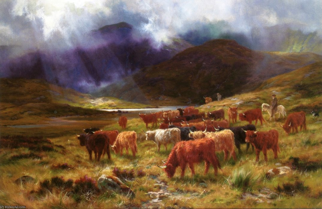 Glen Dochart, Near The Black Mount by Louis Bosworth Hurt (1856-1929, United Kingdom)