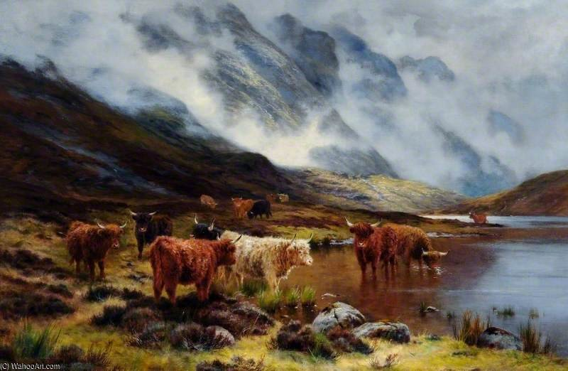 Highland Cattle by Louis Bosworth Hurt (1856-1929, United Kingdom) | Famous Paintings Reproductions | WahooArt.com