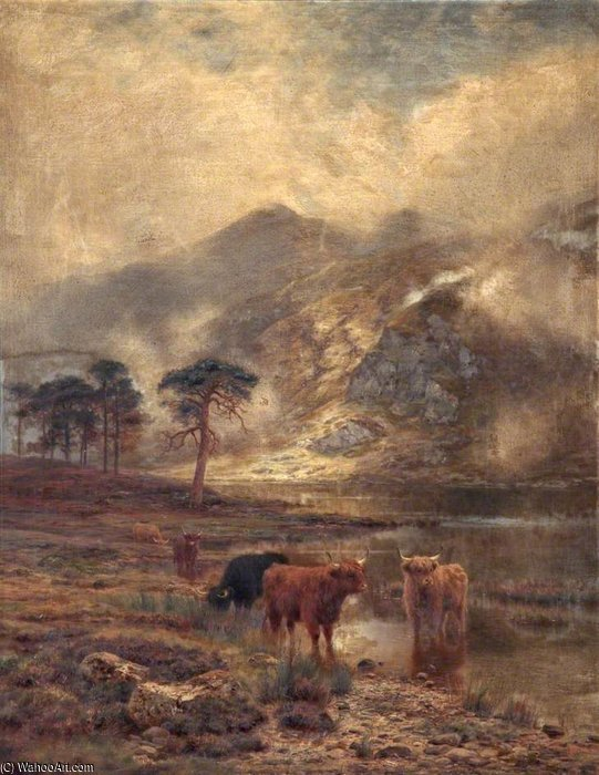 Highland Cattle by Louis Bosworth Hurt (1856-1929, United Kingdom) | Oil Painting | WahooArt.com