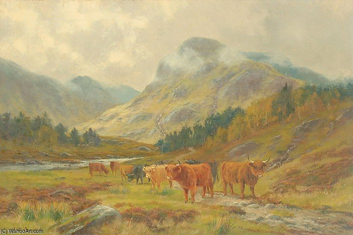 Highland Cattle Grazing In A Mountain Landscape With Low Clouds by Louis Bosworth Hurt (1856-1929, United Kingdom)