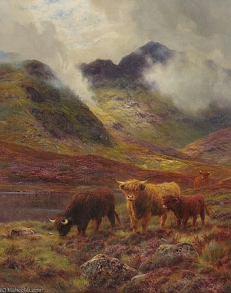 Highland Cattle Grazing by Louis Bosworth Hurt (1856-1929, United Kingdom)