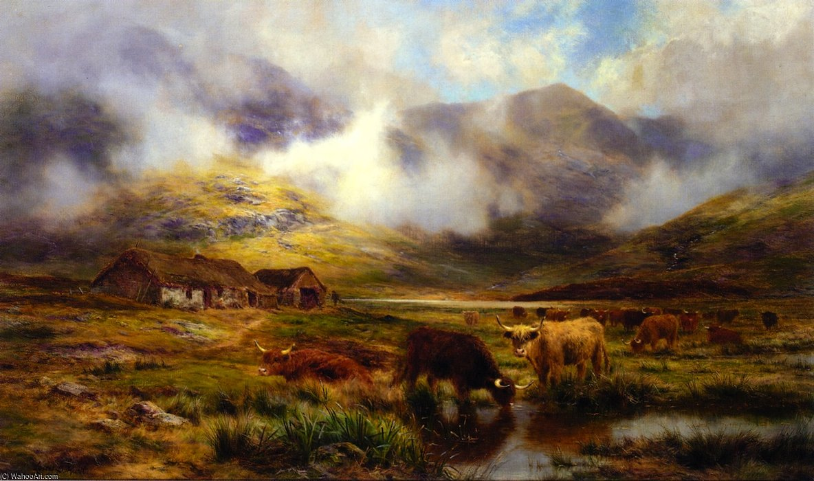 Highland Cattle In A Landscape by Louis Bosworth Hurt (1856-1929, United Kingdom)