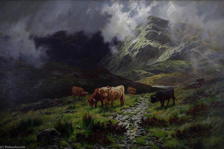 Highland Cattle In A Mountainous Landscape by Louis Bosworth Hurt (1856-1929, United Kingdom)