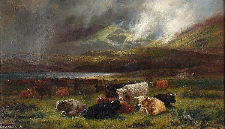 Highland Cattle Resting Near A Loch by Louis Bosworth Hurt (1856-1929, United Kingdom) | Famous Paintings Reproductions | WahooArt.com