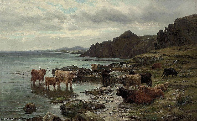 Highland Cattle Watering At A Loch by Louis Bosworth Hurt (1856-1929, United Kingdom) | WahooArt.com