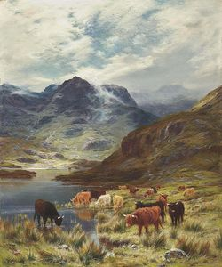 Louis Bosworth Hurt - Highland Cattle Watering Beside A Loch