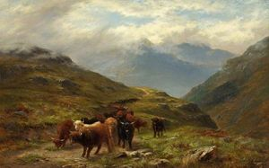 Louis Bosworth Hurt - Highland Cattle, A Mountain Road, Near Ballachulish