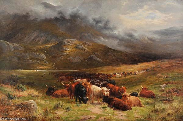 Highland Cattle, Near A Scottish Mountain Loch by Louis Bosworth Hurt (1856-1929, United Kingdom)