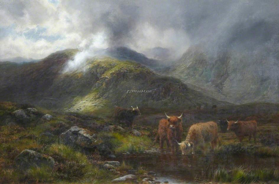 Highland Cattle by Louis Bosworth Hurt (1856-1929, United Kingdom)