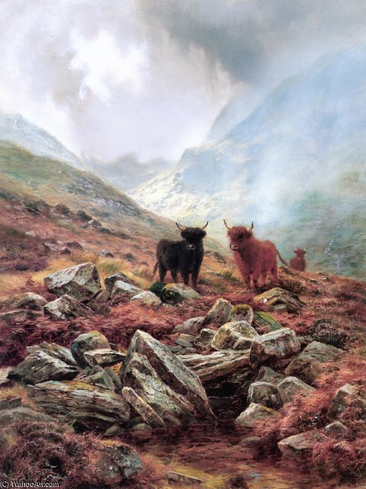 Highland Mists by Louis Bosworth Hurt (1856-1929, United Kingdom)