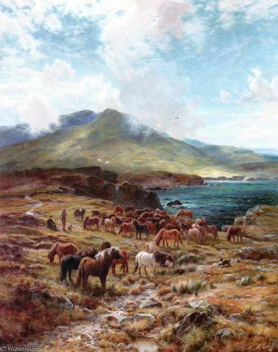 Highland Sunshine by Louis Bosworth Hurt (1856-1929, United Kingdom)