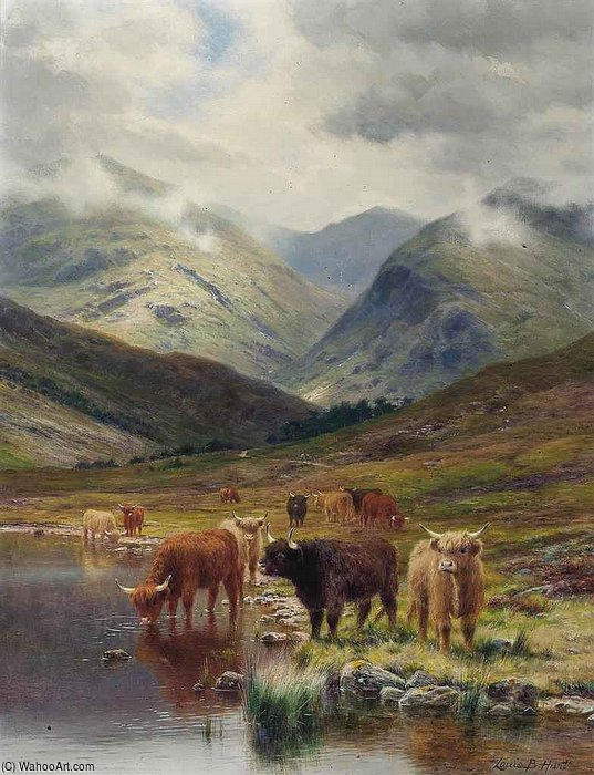 In Glen Nevis by Louis Bosworth Hurt (1856-1929, United Kingdom) | Oil Painting | WahooArt.com