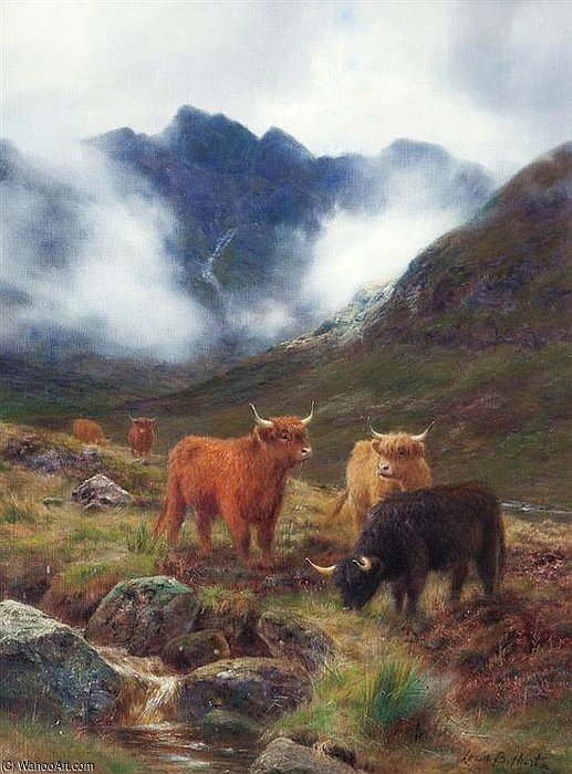 In The Highlands by Louis Bosworth Hurt (1856-1929, United Kingdom)