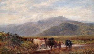 Louis Bosworth Hurt - Landscape With Cattle Drinking