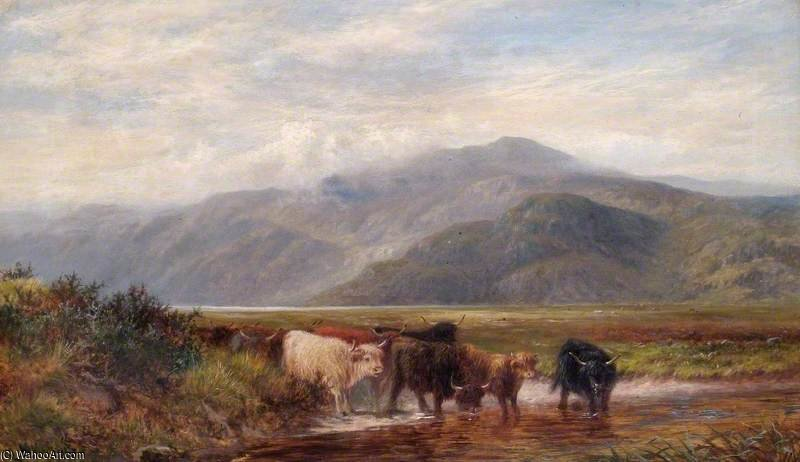 Landscape With Cattle Drinking by Louis Bosworth Hurt (1856-1929, United Kingdom)