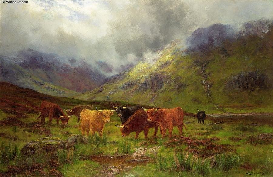 Morning Mists by Louis Bosworth Hurt (1856-1929, United Kingdom) | Oil Painting | WahooArt.com