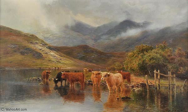 On Loch Awe by Louis Bosworth Hurt (1856-1929, United Kingdom) | Oil Painting | WahooArt.com