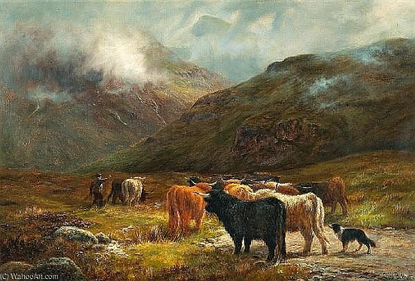 On The Road From Glencoe by Louis Bosworth Hurt (1856-1929, United Kingdom) | Museum Art Reproductions Louis Bosworth Hurt | WahooArt.com
