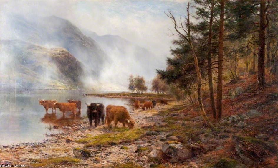 Rising Mists, Loch Eck by Louis Bosworth Hurt (1856-1929, United Kingdom)