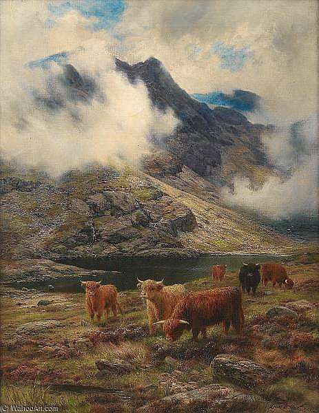 Rough Pastures by Louis Bosworth Hurt (1856-1929, United Kingdom) | Oil Painting | WahooArt.com