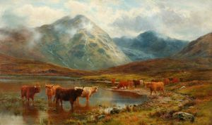 Louis Bosworth Hurt - Scotch Cattle And Mist