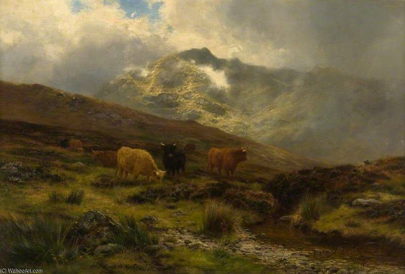 Sunshine And Shower, Strathyre by Louis Bosworth Hurt (1856-1929, United Kingdom)