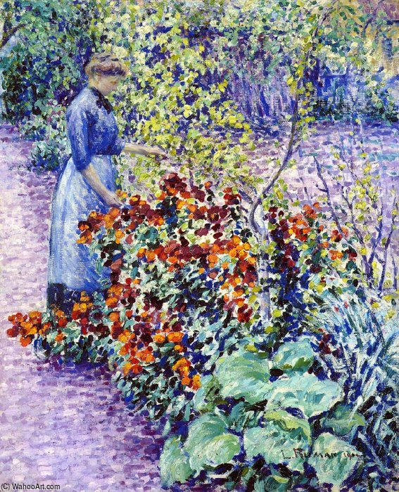 Garden In Giverny by Louis Ritman (1889-1963, Russia)