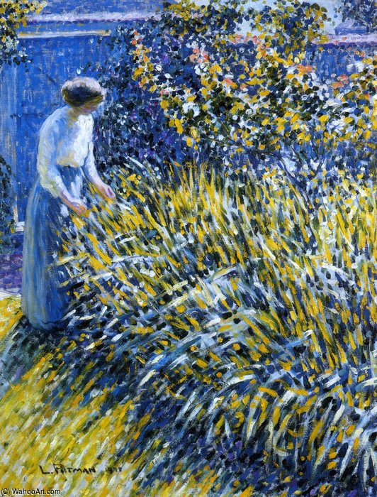 Lady In A Garden by Louis Ritman (1889-1963, Russia)