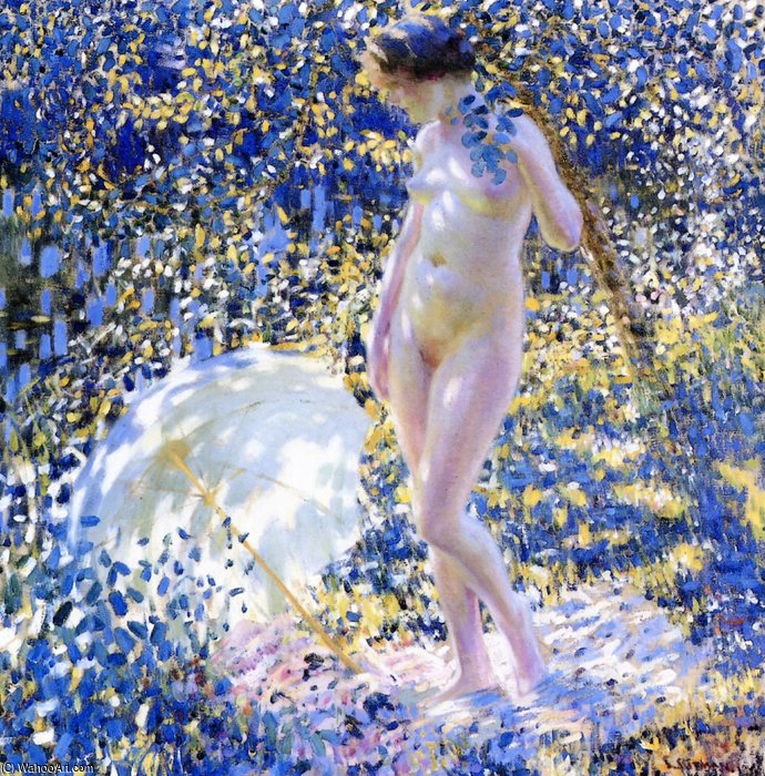 Nude With A Parasol by Louis Ritman (1889-1963, Russia)