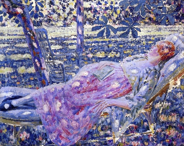 Summer Day In A Chaise Lounge by Louis Ritman (1889-1963, Russia)