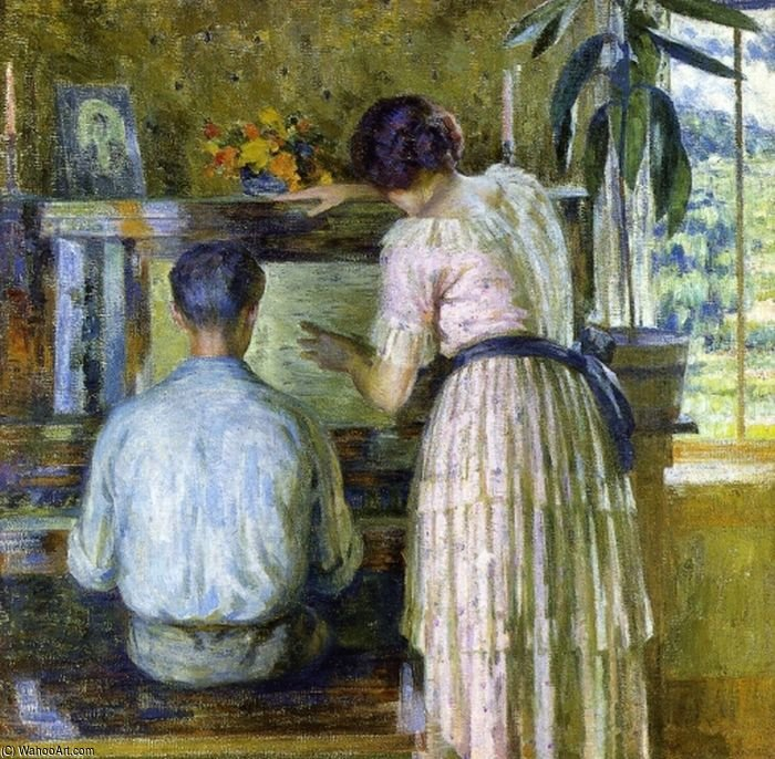 The Piano Lesson by Louis Ritman (1889-1963, Russia)