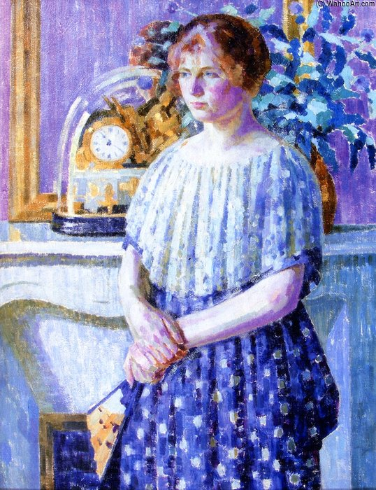 Woman Before A Fireplace by Louis Ritman (1889-1963, Russia)