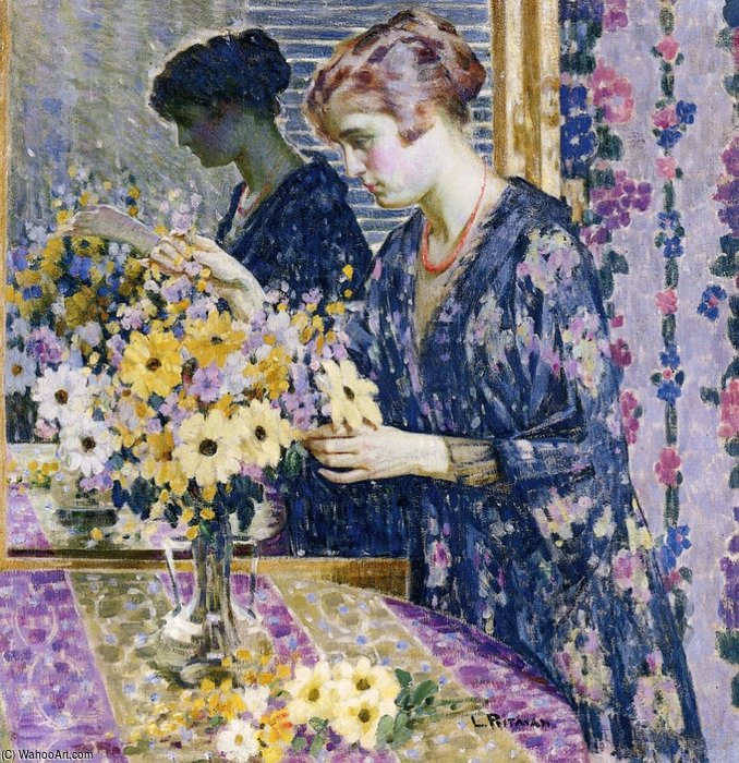Young Woman With A Bouquet Of Flowers by Louis Ritman (1889-1963, Russia) | Oil Painting | WahooArt.com