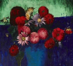 Mark Gertler - Still Life, Dahlias And Daisies In A Blue Vase