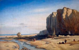 Paul Jean Clays - Rocky Coast With Figures And Boats