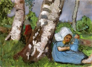 Paula Modersohn Becker - Child With Doll Sitting On A Birch Trunk
