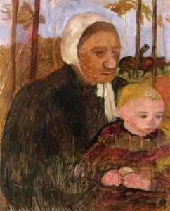 Paula Modersohn Becker - Farmwoman With Child, Rider In The Background