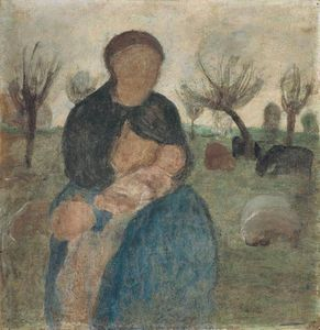 Paula Modersohn Becker - Mother With Baby At Her Breast And Child In Landscape