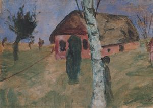 Paula Modersohn Becker - Red House With Birch Tree