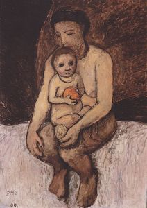 Paula Modersohn Becker - Seated Mother With Child On Her Lap