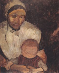 Paula Modersohn Becker - Seated Peasant Woman With Child On Her Lap