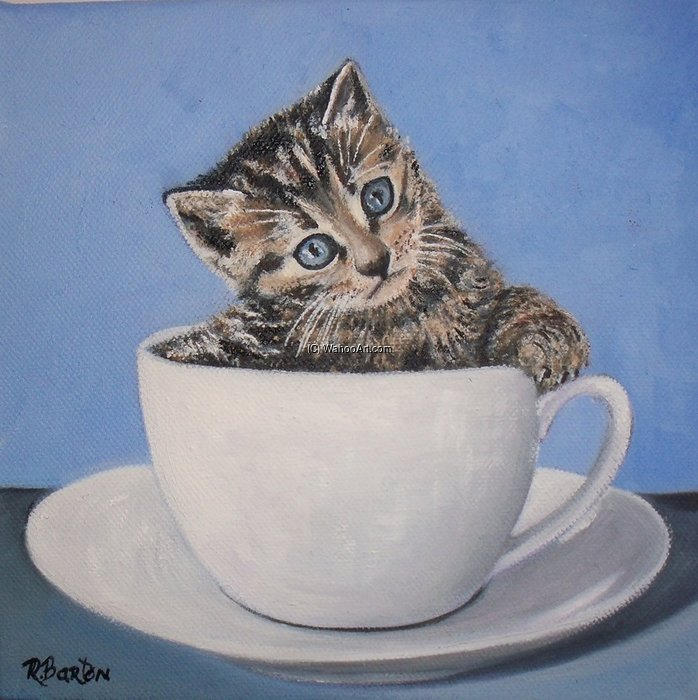 Cuppa Kitten by Rose Maynard Barton (1856-1930, Ireland)