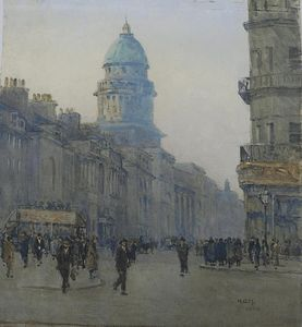 Rose Maynard Barton - Figures And An Omnibus On A Busy Street