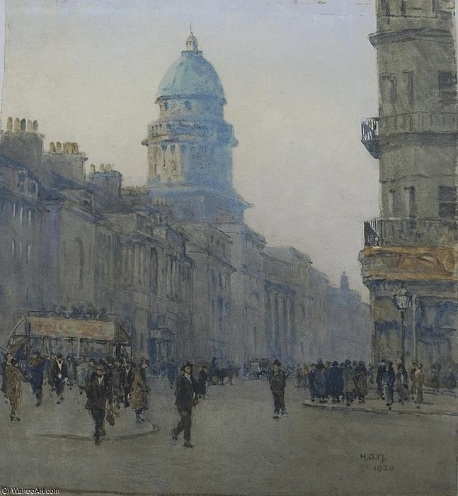 Figures And An Omnibus On A Busy Street by Rose Maynard Barton (1856-1930, Ireland) | WahooArt.com