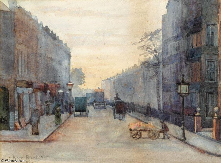 London Street Scene by Rose Maynard Barton (1856-1930, Ireland) | Oil Painting | WahooArt.com