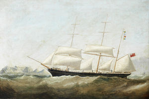 Samuel Walters - A Barque Beating Into Table Bay In A South-easterly Gale