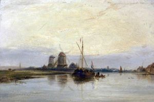 Samuel Walters - Dutch River Scene With Barges