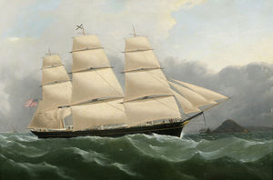 Samuel Walters - Clipper Ship Challenge Arriving off the Coast of England Under Full Sail