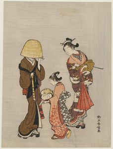 Suzuki Harunobu - Courtesan And Kamuro Looking At The Face Of A Komusô Reflected In A Mirror