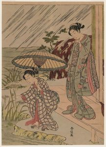 Suzuki Harunobu - Picking Iris In The Rain